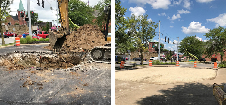 Before and After image. Before shows a hole dug into blacktop in a parking lot, After shows the hole patched over.